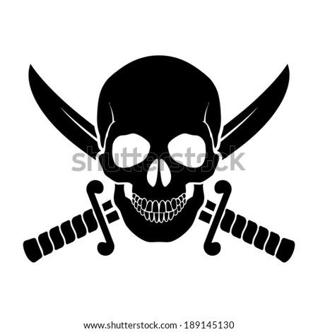 Raster version. Black skull with crossed sabers behind it. Illustration of pirate symbol - stock photo