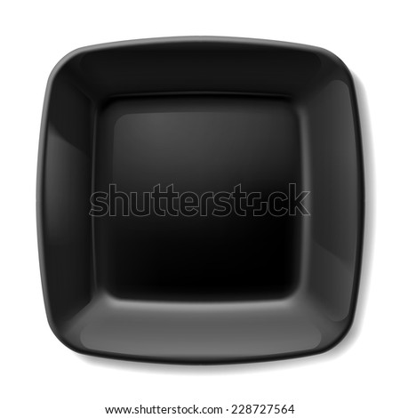 Raster version. Black square plate with rounded corners isolated on white background  - stock photo