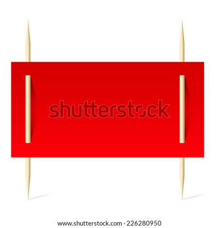 Raster version. Blank banner with red paper on toothpicks. Illustration on white background  - stock photo