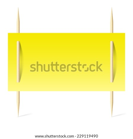 Raster version. Blank banner with yellow paper on toothpicks. Illustration on white background  - stock photo
