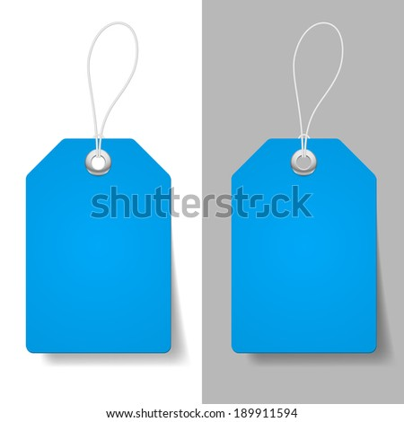 Raster version. Blank blue price tags on white and grey background