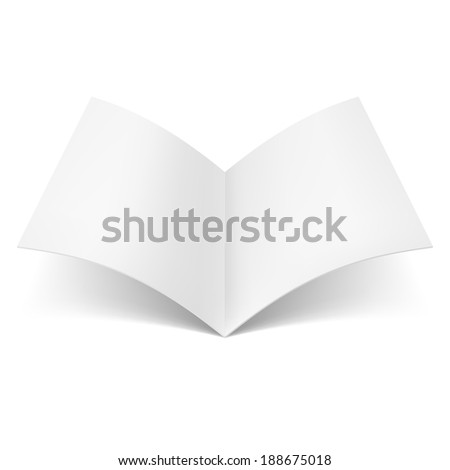 Raster version. Blank book spread isolated on white background - stock photo