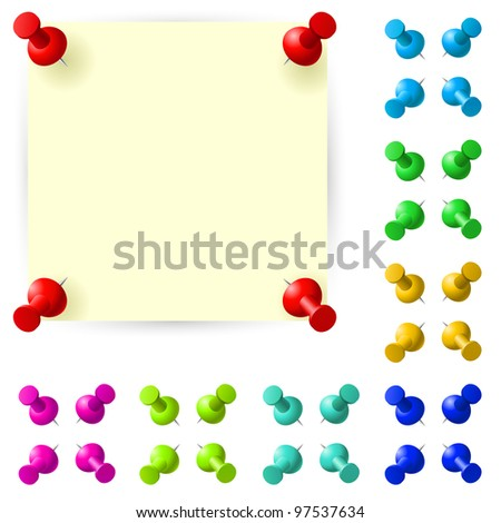 Raster version. Blank sticky note with red pushpin on white background - stock photo