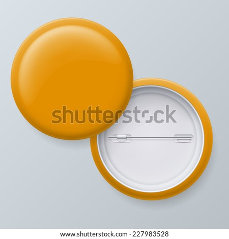 Raster version. Blank Yellow Badges with place for your text isolated on gray background  - stock photo