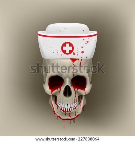 Raster version. Bleeding human skull in white nurse cap. Illustration on grey background  - stock photo