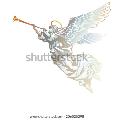 Raster version / Blowing white angel on white background - stock photo