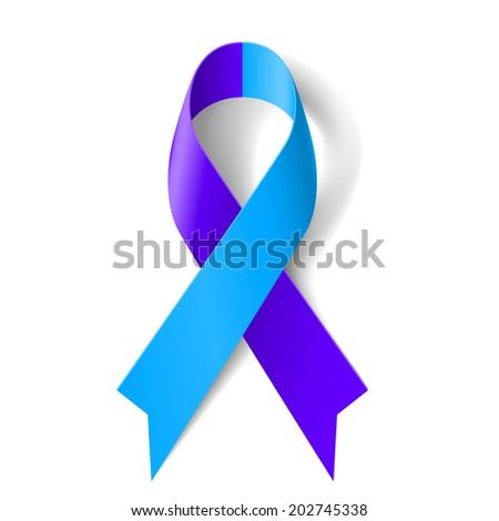 Raster version. Blue and purple ribbon as symbol of rheumatoid arthritis - stock photo