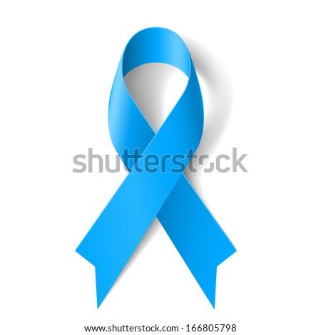 Raster version. Blue awareness ribbon on white background. Disease symbol. - stock photo