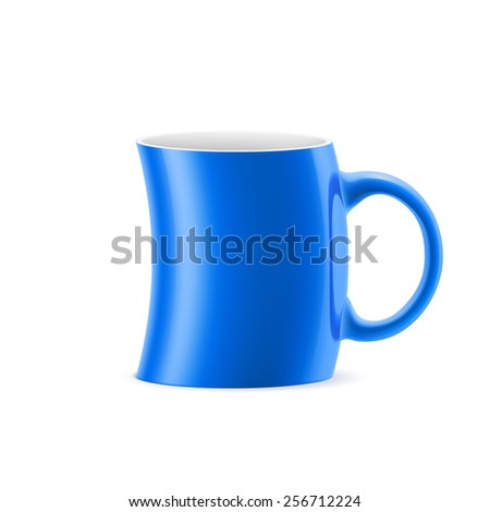 Raster version. Blue curve cup of something is on white background