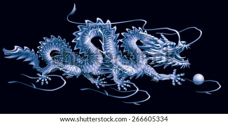 Raster version / Blue Dragon moving horizontally on a black background - stock photo