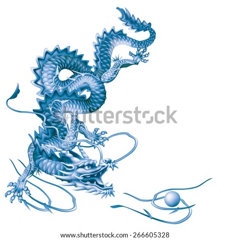 Raster version / Blue Dragon running vertically down on a white background - stock photo