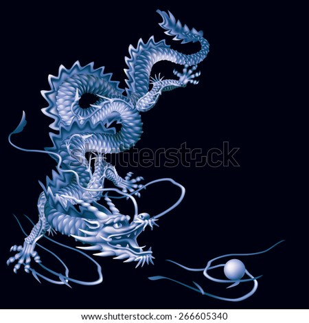 Raster version / Blue Dragon running vertically down the black background - stock photo