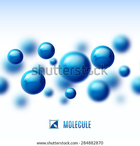 Raster version. Blue molecular structure. Abstract background with blur effect