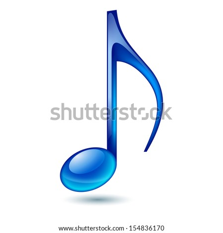 Raster version. Blue music note isolated on white background.