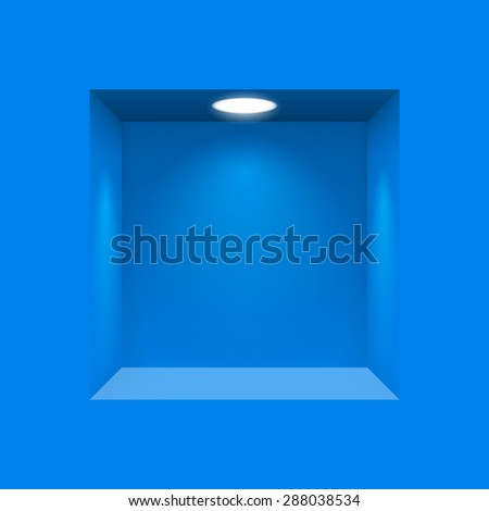 Raster version. Blue niche for presentations illuminated  light lamp  - stock photo