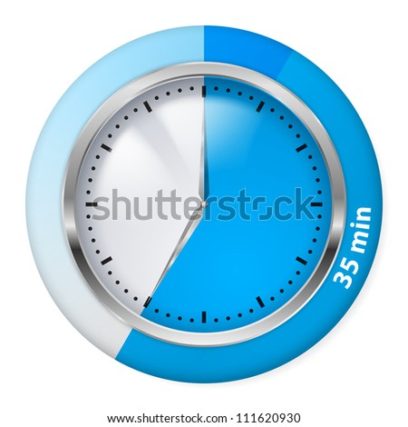 Raster version. Blue Timer Icon. Thirty-five Minutes. Illustration on white.