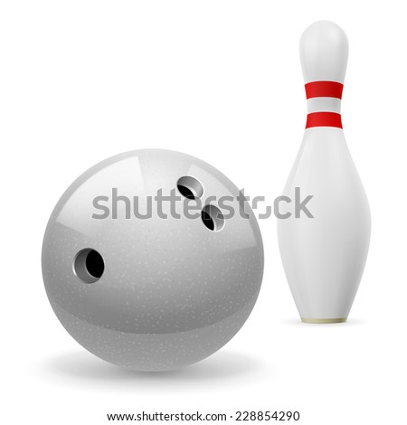 Raster version. Bowling ball with holes in front of white skittle with red stripes on a white background  - stock photo