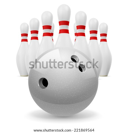 Raster version. Bowling ball with holes in front. White skittles with red stripes on a white background  - stock photo