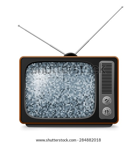 Raster version. Broken retro TV with noise on screen. Illustration on white - stock photo