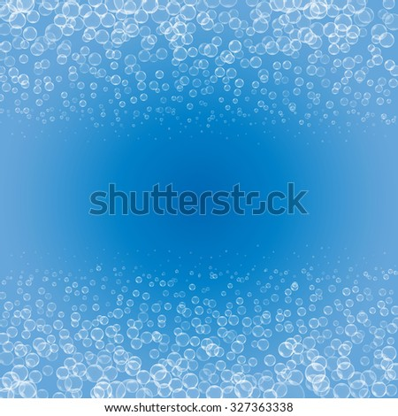 Raster version. bubbles on blue background, aqua art illustration template design