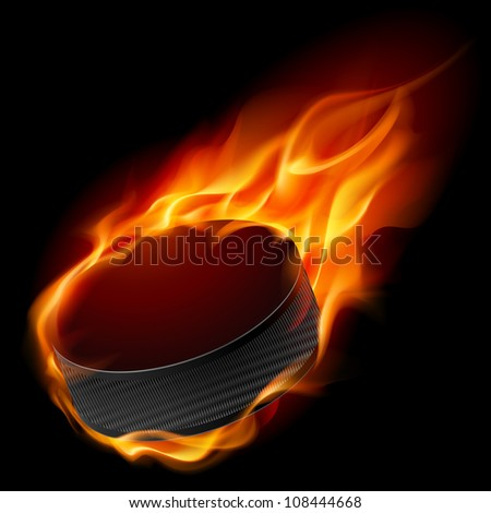 Raster version. Burning hockey puck. Illustration for design on black background - stock photo