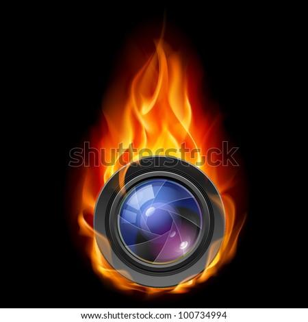 Raster version. Burning the camera lens. Illustration on black background - stock photo