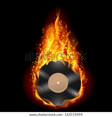 Raster version. Burning vinyl record with fiery notes. Bright illustration on black background.