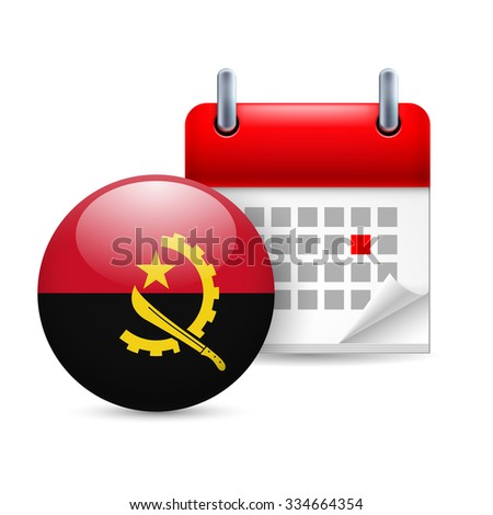 Raster version. Calendar and round Angolan flag icon. National holiday in Angola - stock photo