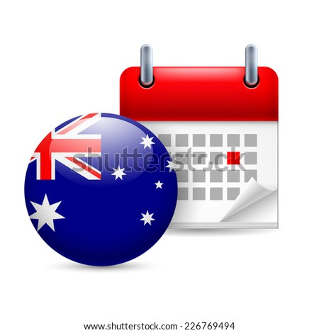 Raster version. Calendar and round Australian flag icon. National holiday in Australia  - stock photo