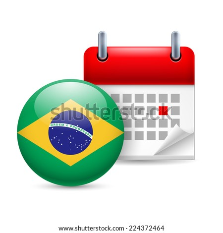 Raster version. Calendar and round Brazillian flag icon. National holiday in Brazil  - stock photo