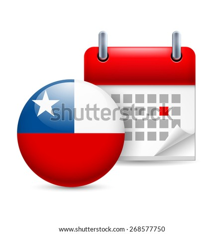 Raster version. Calendar and round Chile flag icon. National holiday in Chile  - stock photo