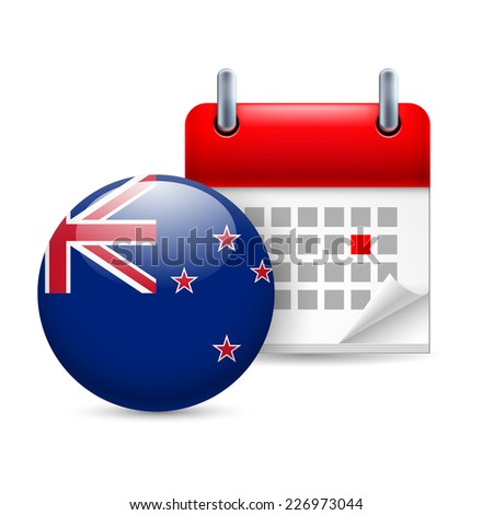 Raster version. Calendar and round flag icon. National holiday in New Zealand  - stock photo