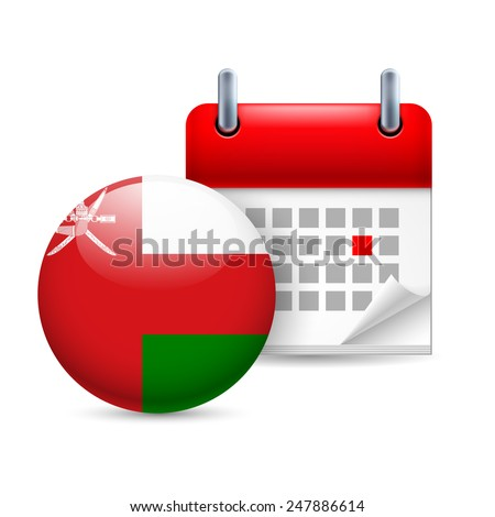 Raster version. Calendar and round Omani flag icon. National holiday in Oman  - stock photo