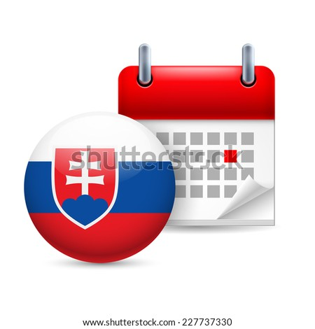 Raster version. Calendar and round Slovak flag icon. National holiday in Slovakia  - stock photo