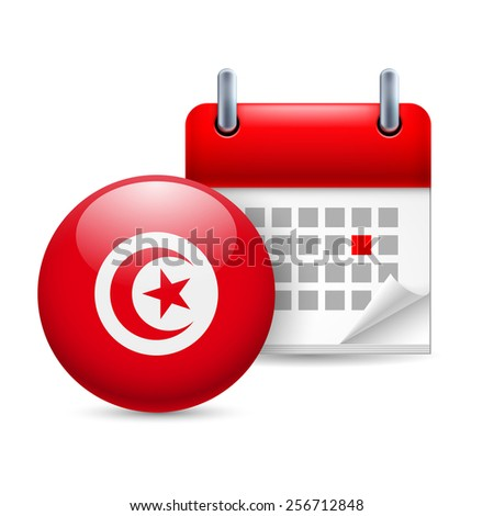 Raster version. Calendar and round Tunisian flag icon. National holiday in Tunisia