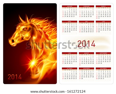 Raster version. Calendar 2014 with beautiful fire horse image. - stock photo