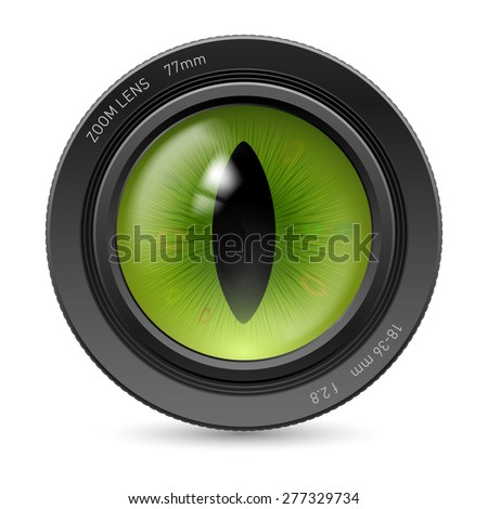 Raster version. Camera lens isolated on white background. Illustration green pupil reptiles - stock photo