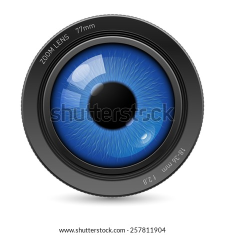 Raster version. Camera lens with blue eyes in the center - stock photo