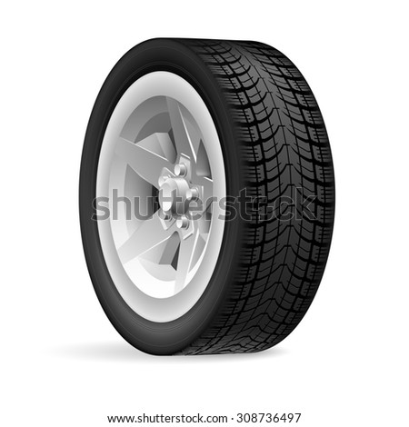 Raster version. Car wheel isolated on a white background