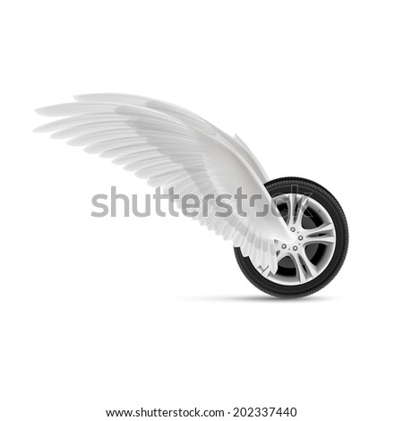 Raster version. Car wheel with white angel wings for your design - stock photo