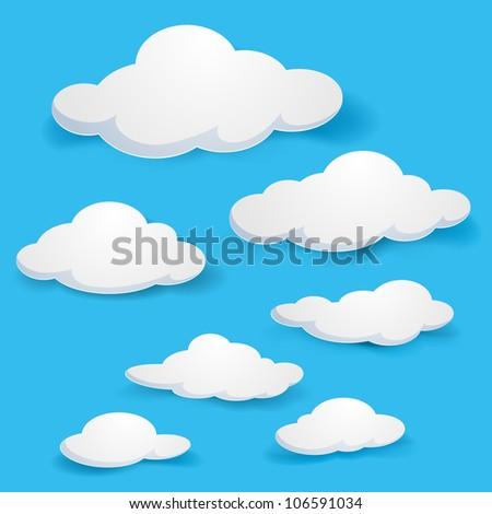 Raster version. Cartoon  clouds. Illustration on blue background for design - stock photo