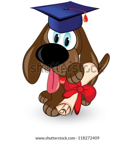 Raster version. Cartoon dog is a graduate of. Illustration on white background.