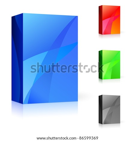Raster version. CD box of different colors. Illustration on white background for design. - stock photo