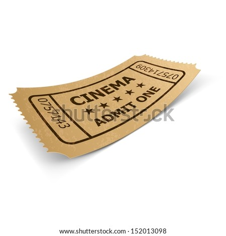 Raster version. Cinema ticket in retro style design isolated on white. Vintage symbol of film industry. Entertainment and leisure.  - stock photo