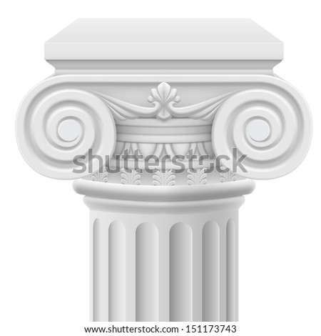 Raster version. Classic ionic column. Illustration on white background