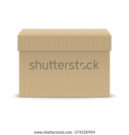 Raster version. Closed cardboard box isolated on white background - stock photo