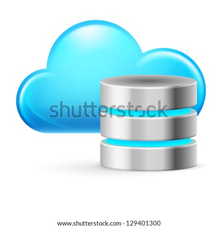 Raster version. Cloud computing and Database. Illustration on white background