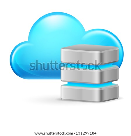 Raster version. Cloud computing and remote Database. Illustration on white background - stock photo