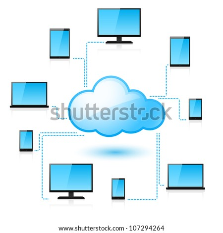Raster version. Cloud computing. Illustration for design on white background - stock photo