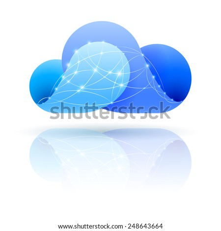Raster version. Cloud icon with shiny network dots over white baclground  - stock photo